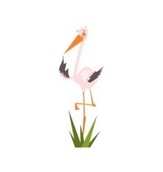 Stork Standing On One Leg Flat Cartoon vector image vector image