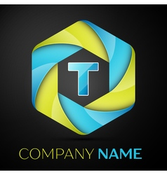 T letter colorful logo in the hexagonal on black vector
