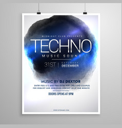 techno music flyer poster template vector image