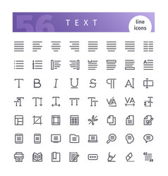 text line icons set vector image vector image