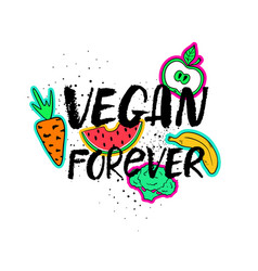 Vegan forever hand drawn lettering vector
