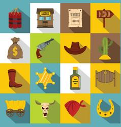 Wild west icons set design logo flat style vector
