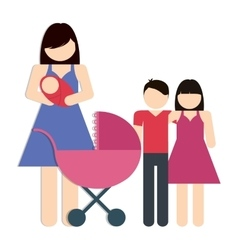 Mother and kids icon avatar family design vector