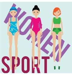 Women sport team swimmer runner gymnast vector