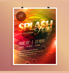 Colorful splash party invitation flyer poster vector