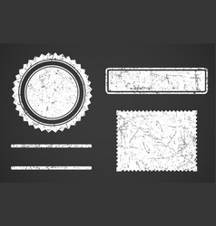 Set of white grunge stamps template different vector