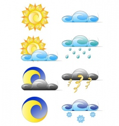 Set of weather climate icons vector