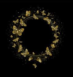 round banner with golden butterflies vector image