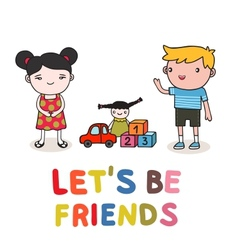 Kids friendship vector