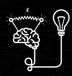 Invention - electricity of brain light bulb and vector image