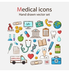 Medical doddle icon set vector