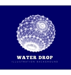 Spherical drop of water on a blue background vector
