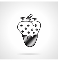 Strawberry dessert black line icon vector