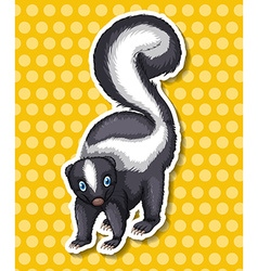Skunk standing on yellow background vector image