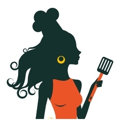 Beautiful cooking woman holding spatula vector