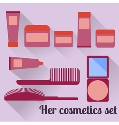Women s cosmetic set in flat style vector
