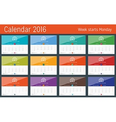 Calendar 2016 design template set of 12 months vector