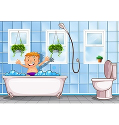 Boy taking a bath in bathroom vector