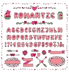 Romantic alphabetheart fontabc lettersdecor vector