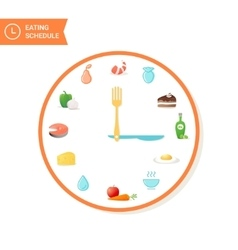 Food and clock eating schedule icons vector