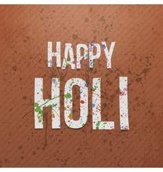 Happy holi realistic banner with color stains vector