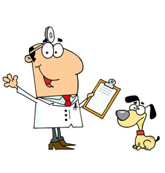 Caucasian cartoon dog veterinarian man vector