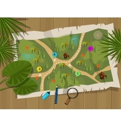 Map jungle cartoon treasure hunter vector