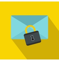 Blue envelope with padlock icon flat style vector