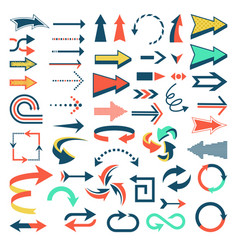 arrow icons set arrowheads direction or vector image