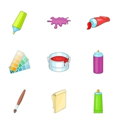 Art and craft symbol icons set cartoon style vector