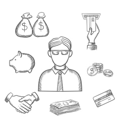 Banker money and finance sketch icons vector