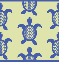 Blue openwork turtle seamless green pattern vector