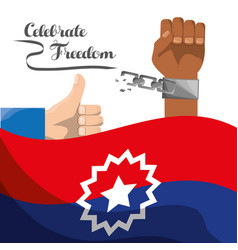 Chain in the hand with flag and all good hand vector