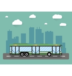 city bus in front of houses vector image vector image