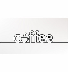 coffee line text vector image vector image