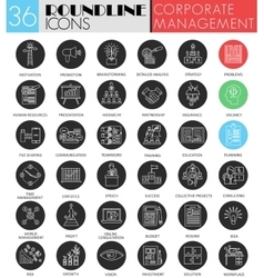 corporate management circle white black vector image