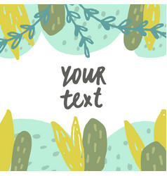 cute hand drawn plants card template vector image vector image