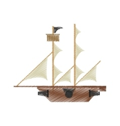 Drawing pirate ship sail adventure vector