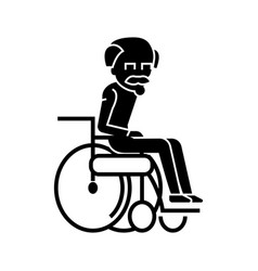 elder man in wheelchair icon vector image