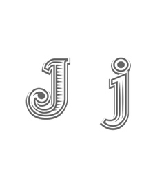 Font tattoo engraving letter j vector