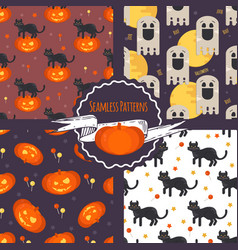 halloween concept seamless patterns set vector image vector image