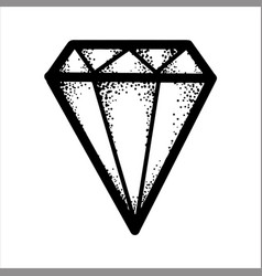 Hand drawn sketch of a black glamourous diamond vector
