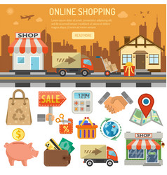 internet shopping banner vector image vector image