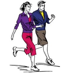 Marathon road runners jogger fitness vector image
