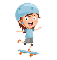 Of kid skate boarding vector