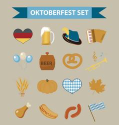 oktoberfest icon set flat or cartoon style vector image vector image