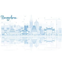 Outline Bangalore Skyline with Blue Buildings vector image