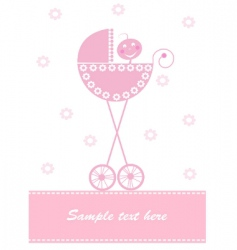 pink baby card vector image vector image