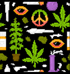 pixel art game style medical marijuana objects vector image vector image