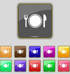Plate icon sign Set with eleven colored buttons vector image vector image